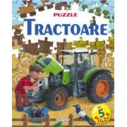 Tractoare - carte cu puzzle
