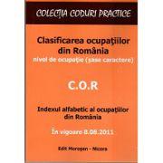 COR Clasificarea ocupatiilor din Romania. In vigoare 8.08.2011