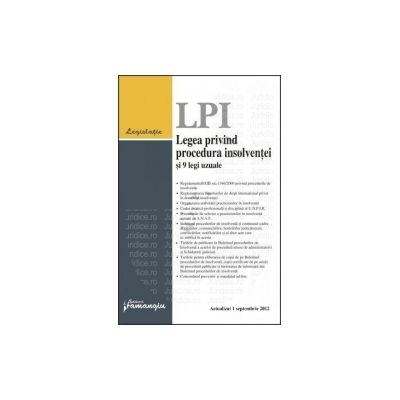 Legea privind procedura insolventei si 9 legi uzuale Actualizat la 1 septembrie 2012