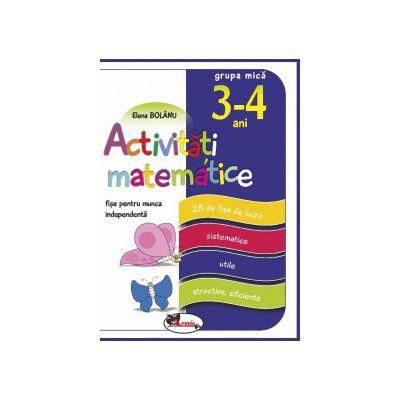 Activitati matematice, fise pentru munca independenta, 3-4 ani