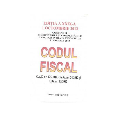 Codul Fiscal 1 Octombrie 2012