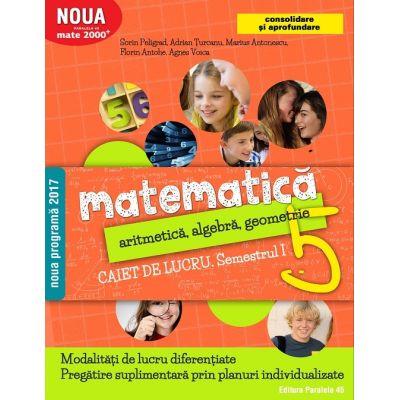 Matematica 2017 - 2018 Consolidare - Aritmetica, Algebra, Geometrie - Clasa A V-A - Caiet de lucru - Semestrul I ( Noua Programa 2017