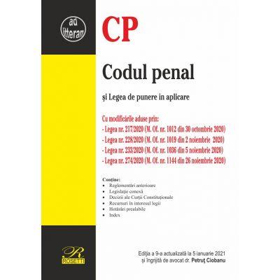 Codul penal și Legea de punere în aplicare - Ediția a 9-a actualizată la 5 ianuarie 2021